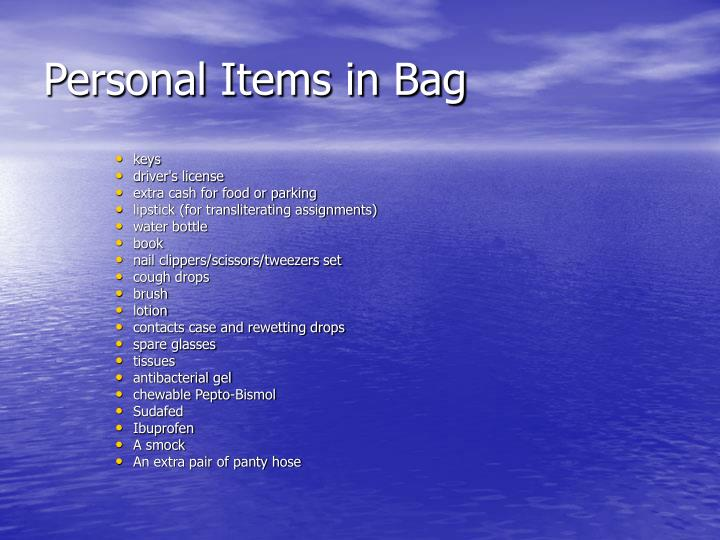 Personal Items in Bag