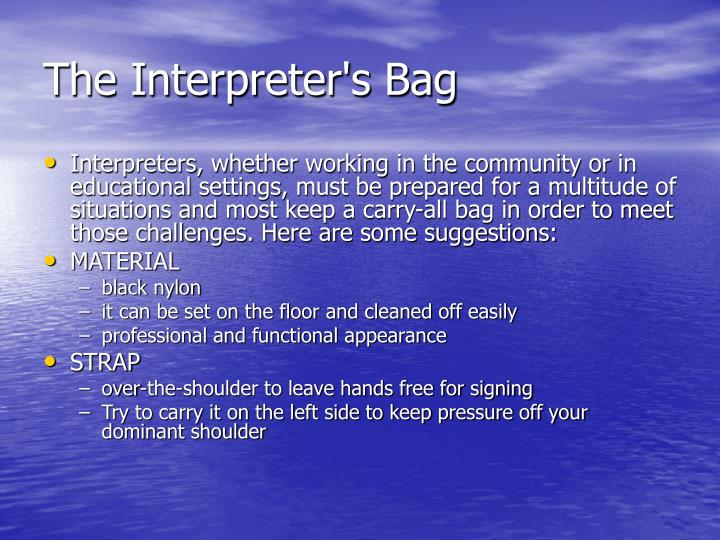 The Interpreter's Bag