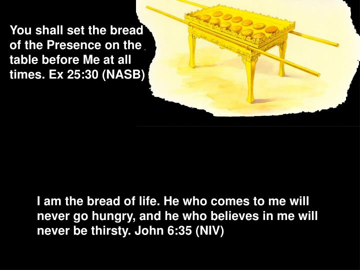 You shall set the bread of the Presence on the table before Me at all times. Ex 25:30 (NASB)