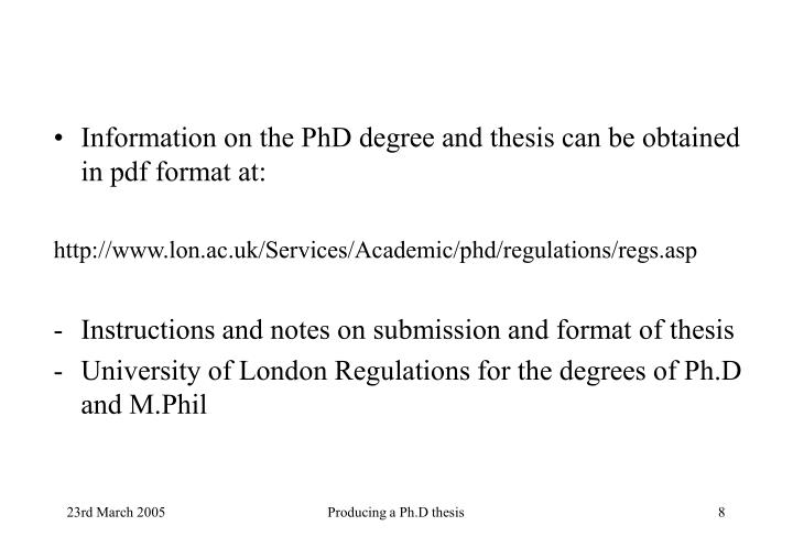 Information on the PhD degree and thesis can be obtained in pdf format at: