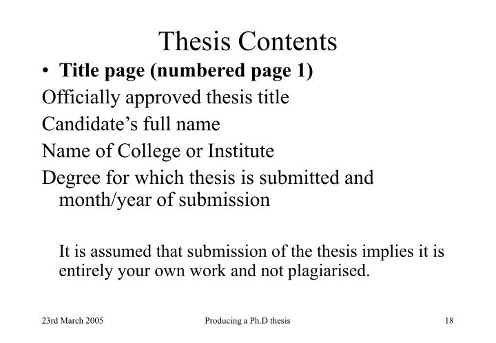 Thesis Contents