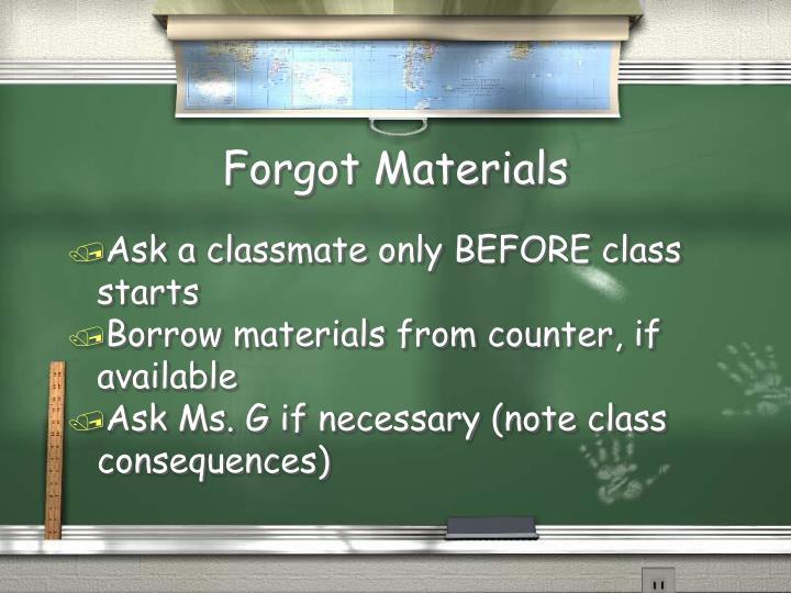 Forgot Materials