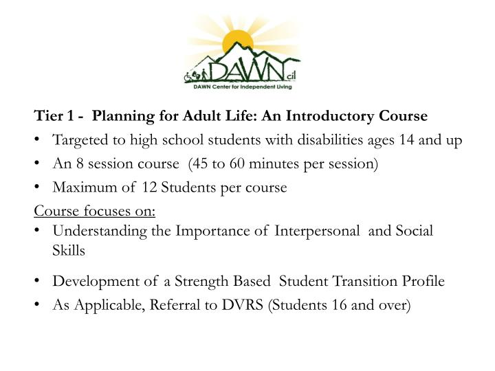 Tier 1 -  Planning for Adult Life: An Introductory Course