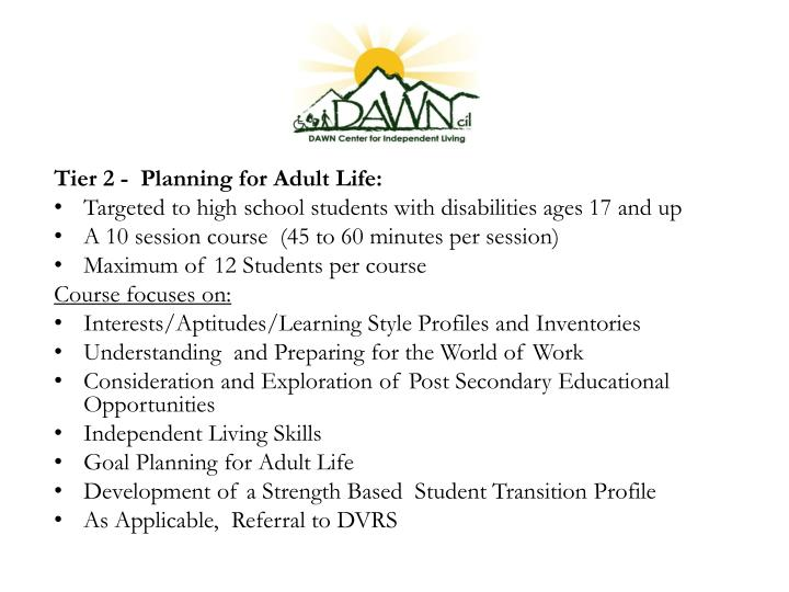 Tier 2 -  Planning for Adult Life: