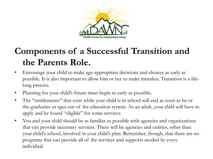 Components of a Successful Transition and the Parents