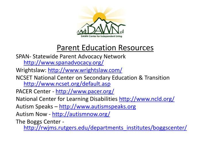 Parent Education Resources