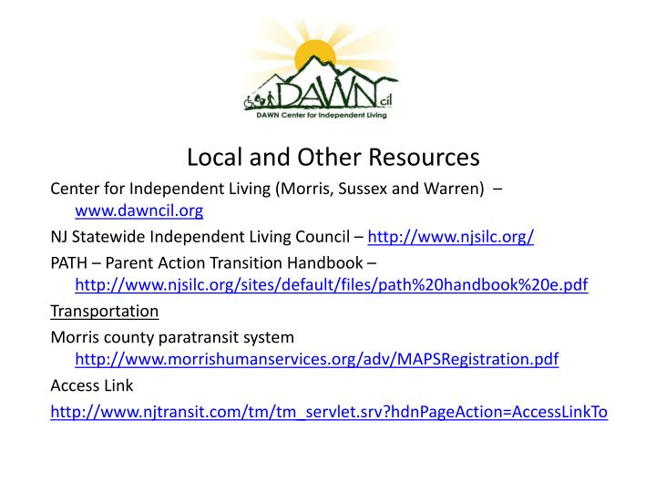 Local and Other Resources