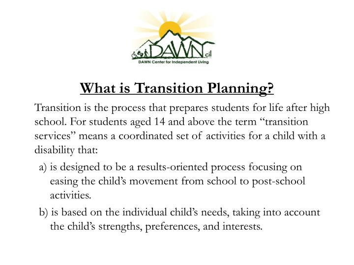 What is Transition Planning?