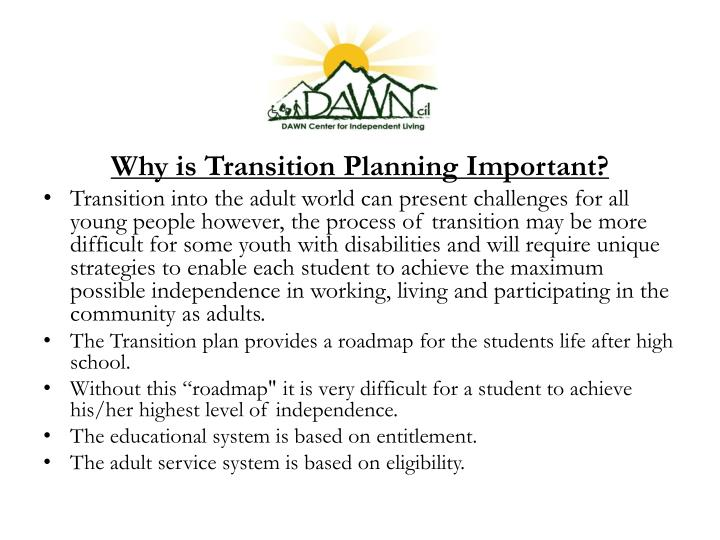 Why is Transition Planning Important?