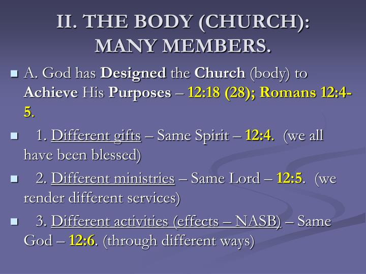 II. THE BODY (CHURCH):
