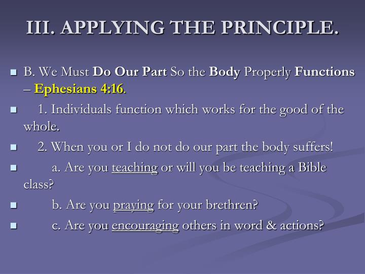 III. APPLYING THE PRINCIPLE.
