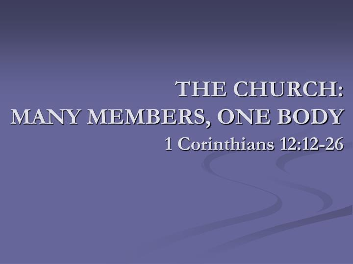 The church many members one body