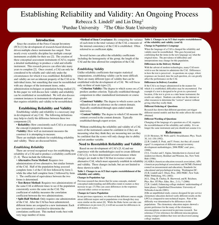 establishing reliability and validity essay