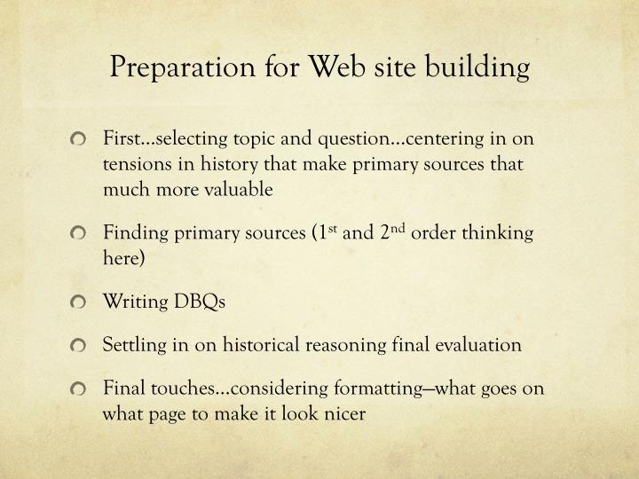 Preparation for Web site building