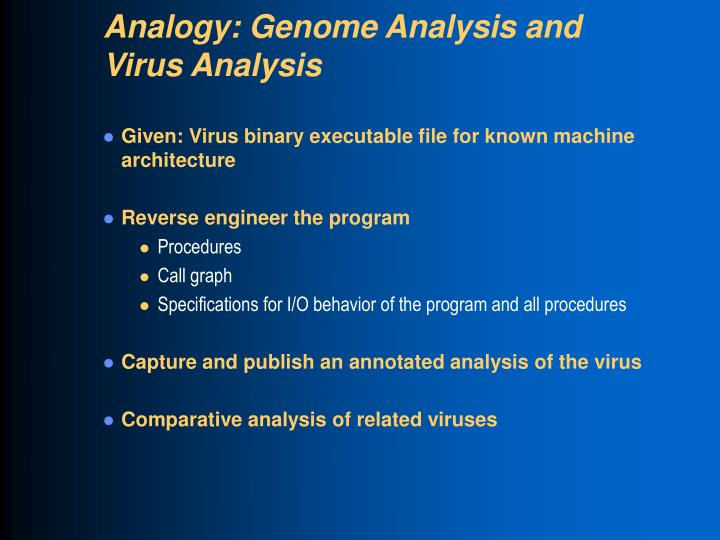 Analogy: Genome Analysis and