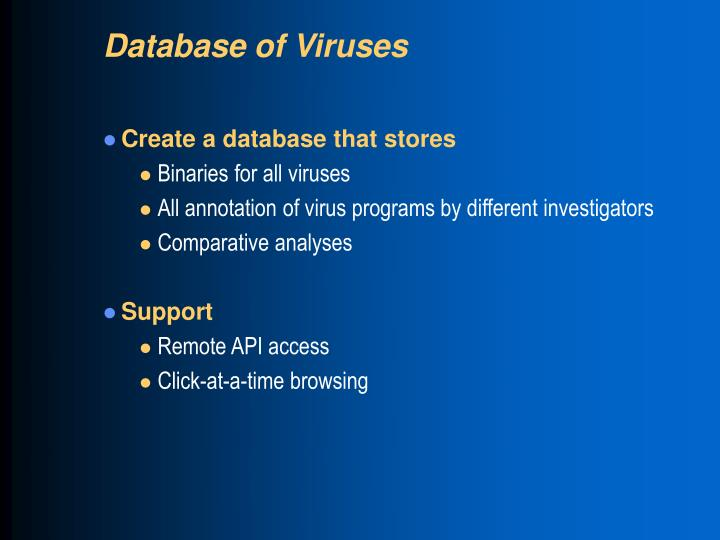 Database of Viruses