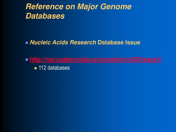 Reference on Major Genome Databases