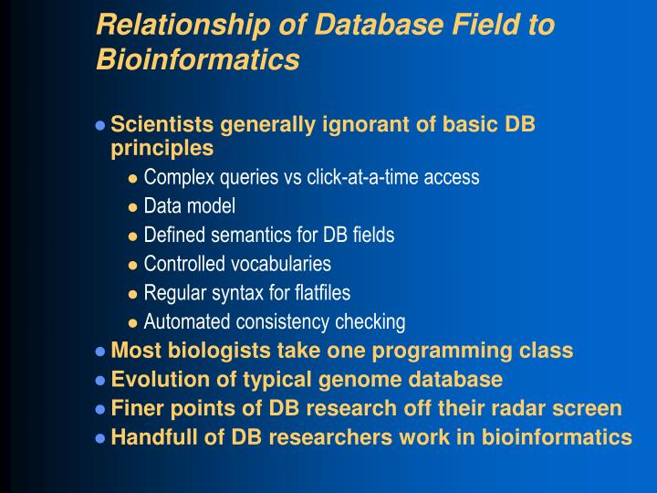 Relationship of Database Field to
