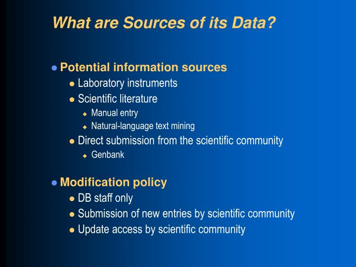 What are Sources of its Data?