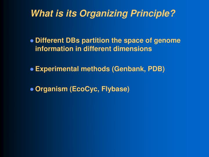 What is its Organizing Principle?