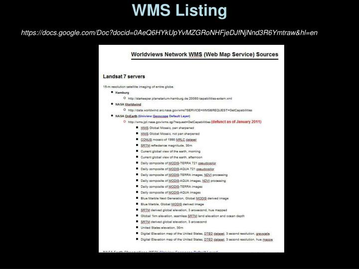 WMS Listing