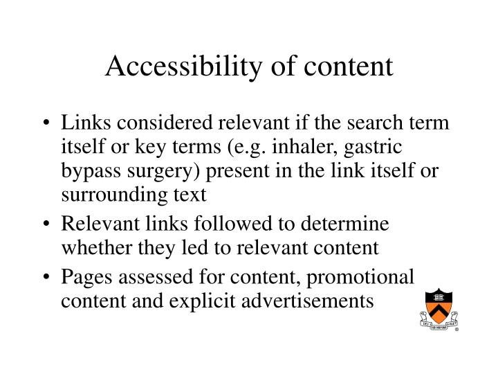 Accessibility of content