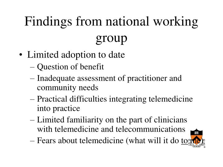 Findings from national working group