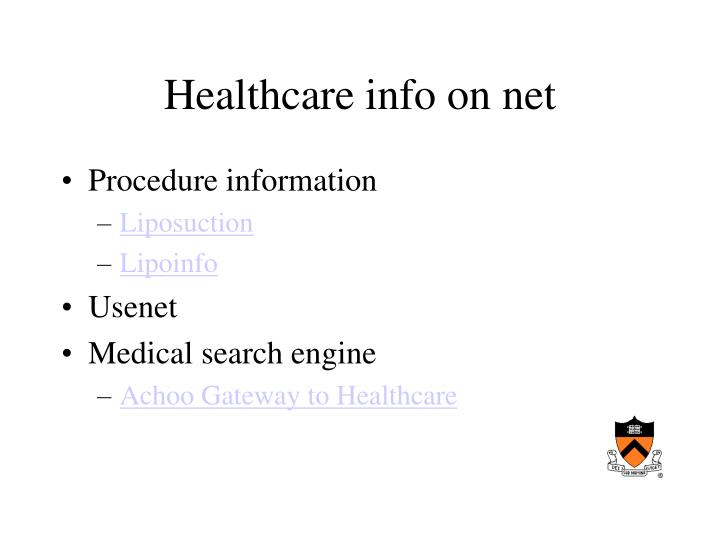 Healthcare info on net