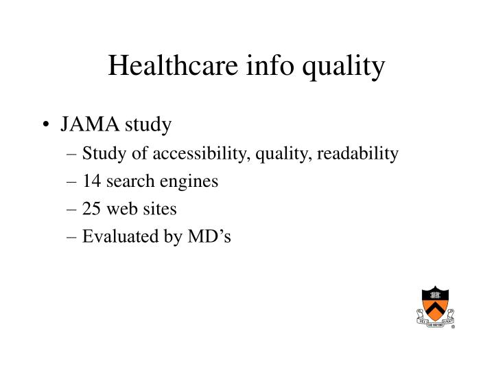 Healthcare info quality