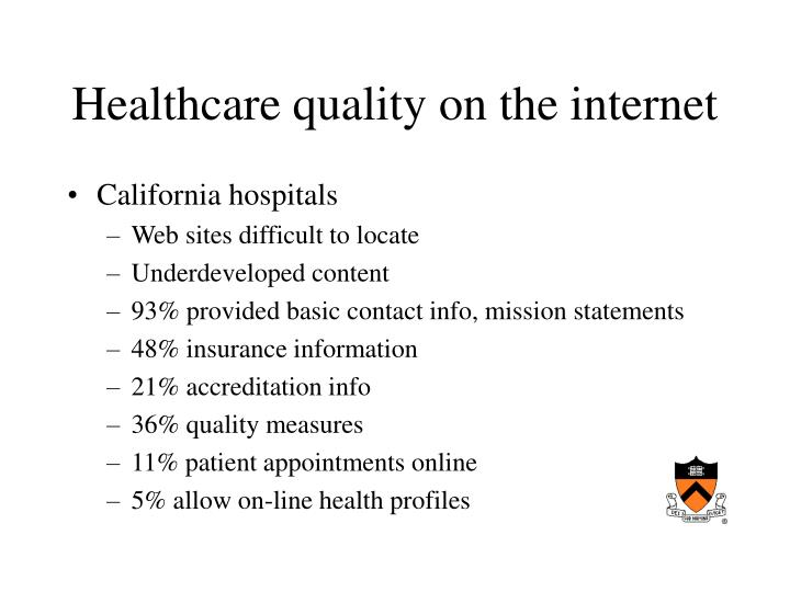 Healthcare quality on the internet