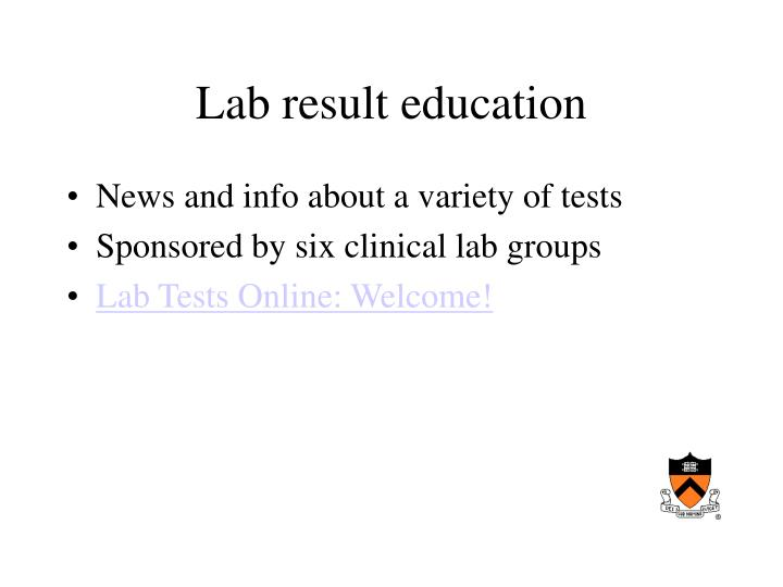 Lab result education