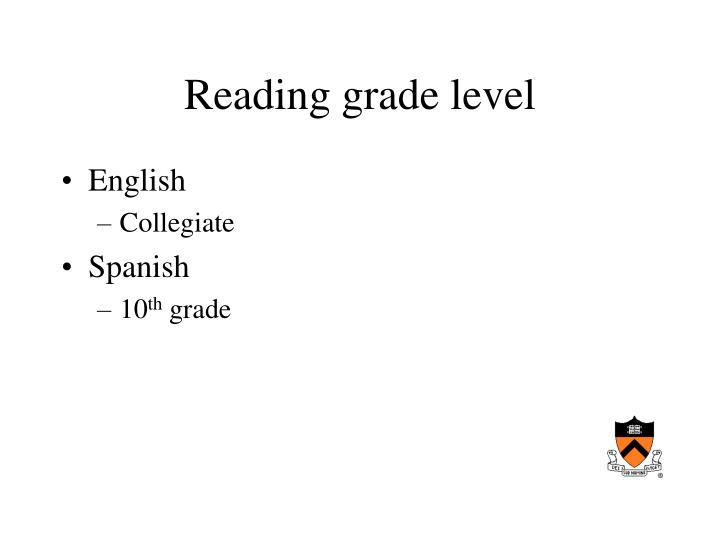 Reading grade level