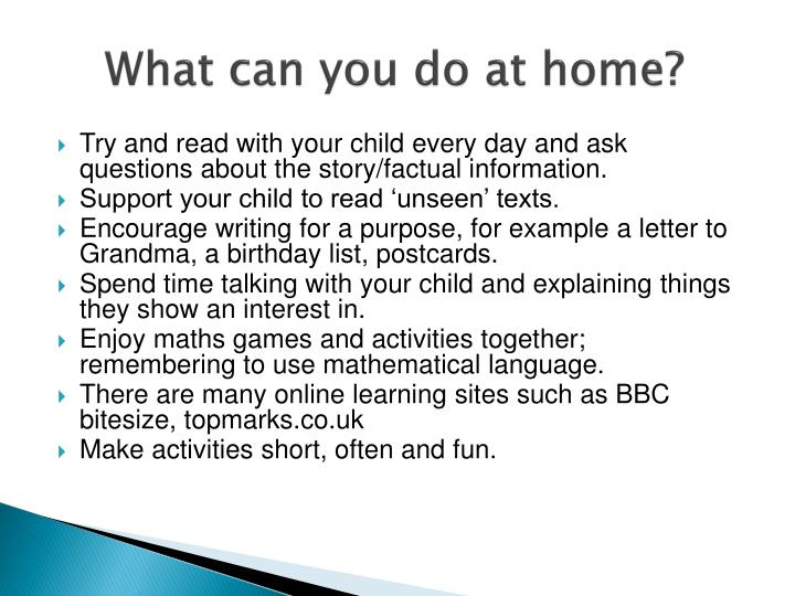 What can you do at home?
