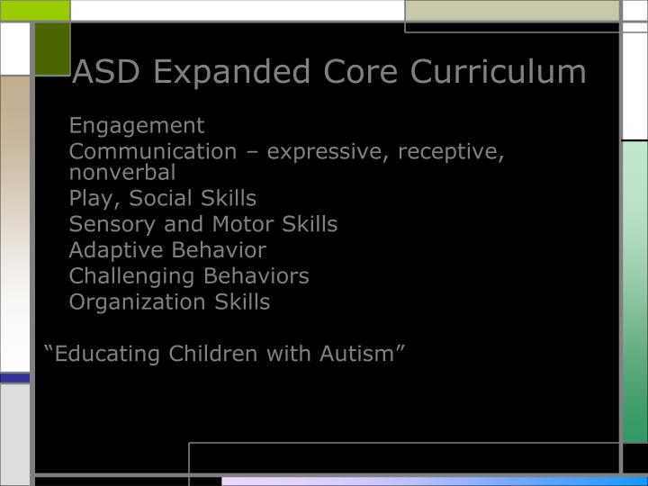 ASD Expanded Core Curriculum