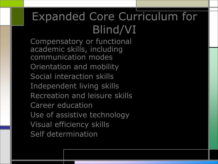 Expanded core curriculum for blind vi