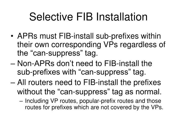 Selective FIB Installation