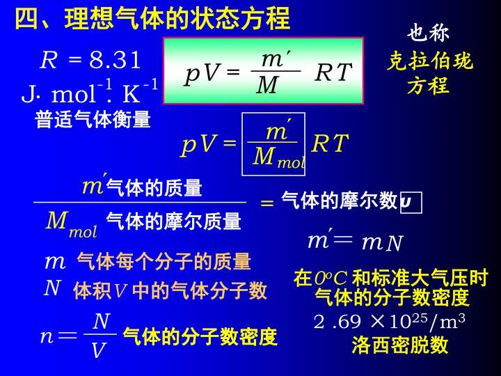 四、理想气体的状态方程