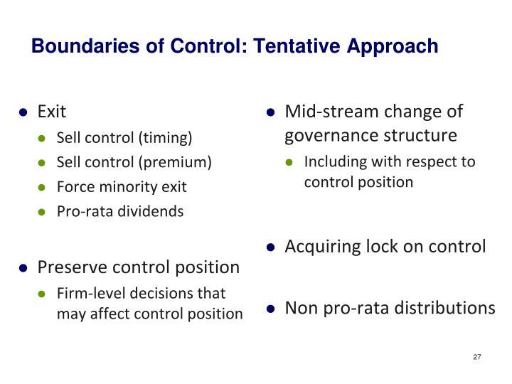 Boundaries of Control: Tentative Approach