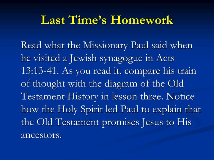 Last Time's Homework