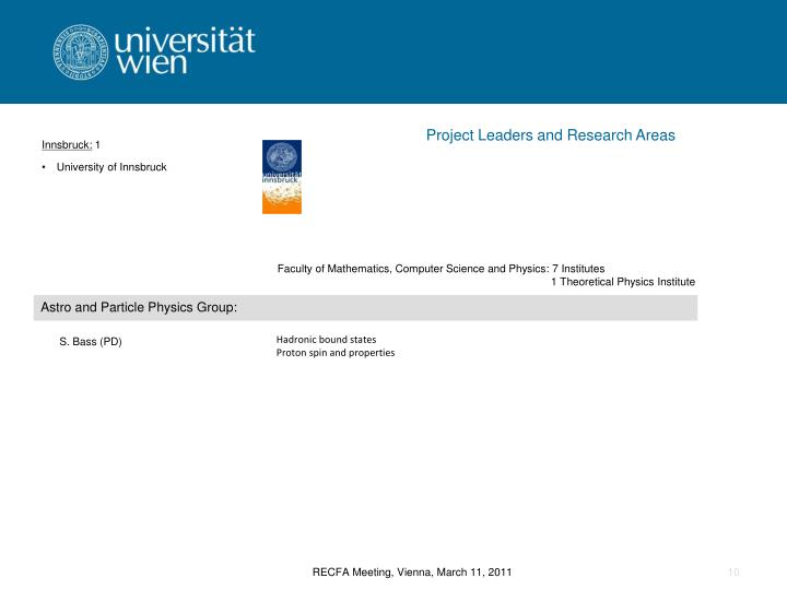 Project Leaders and Research Areas