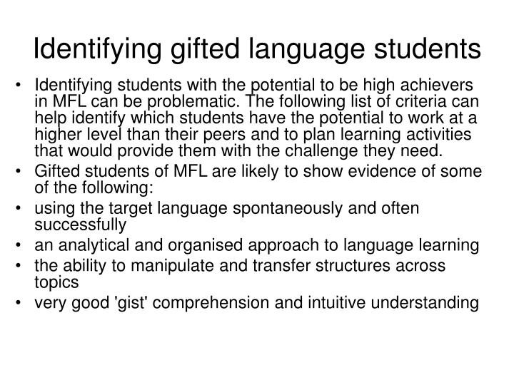 Identifying gifted language students