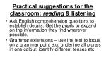 practical suggestions for the classroom reading listening6