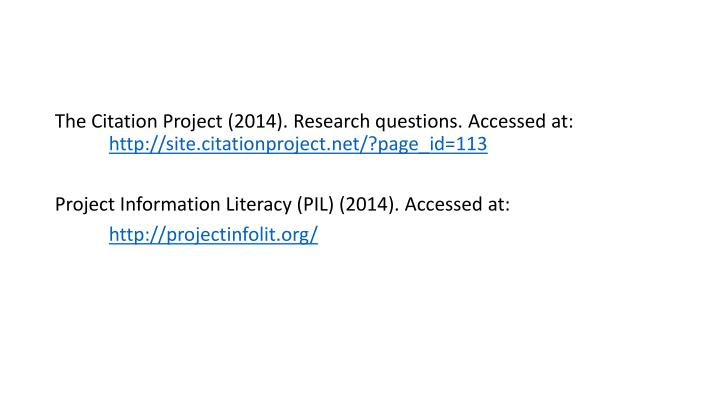 The Citation Project (2014). Research questions. Accessed at: