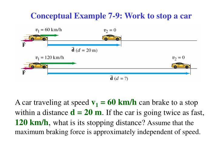 Conceptual Example 7-9: Work to stop a car