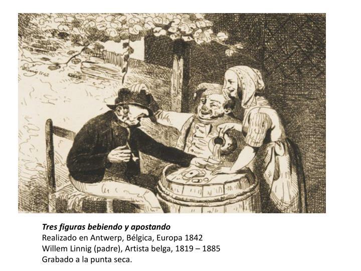 Tres figuras bebiendo y apostando