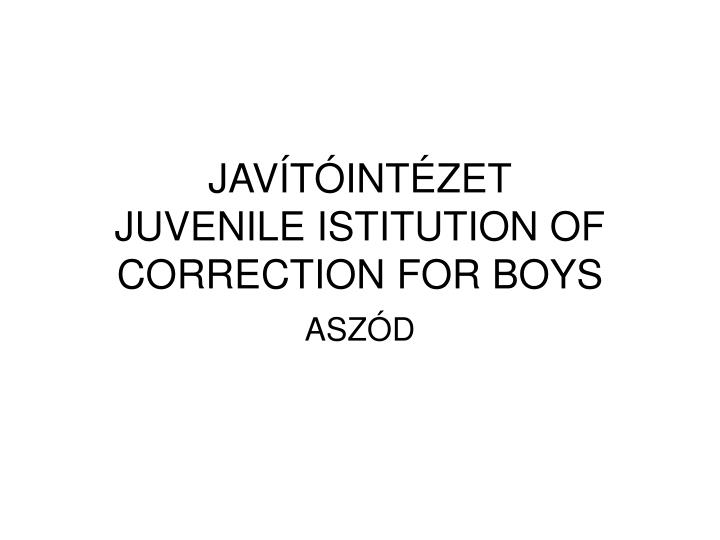 Jav t int zet juvenile istitution of correction for boys