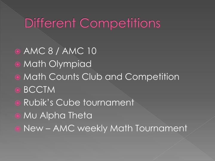 Different Competitions