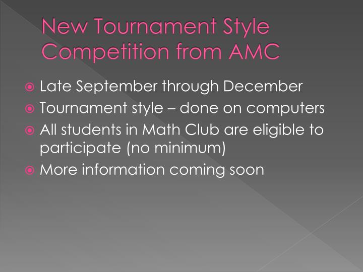 New Tournament Style Competition from AMC