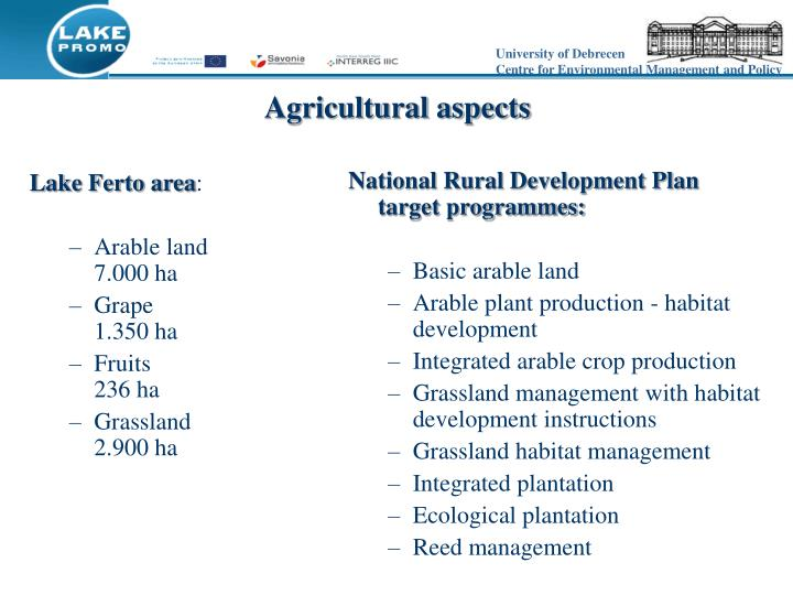 Agricultural aspects
