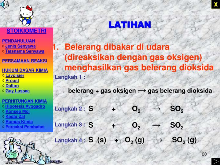 Belerang dibakar di udara (direaksikan dengan gas oksigen) menghasilkan gas belerang dioksida